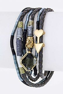 Mix Charms Braiding Leather Layer Cuff