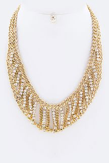 Layered Crystal & Chain Necklace Set
