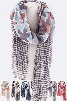 Flowers & Polka Dot Mix Print Scarf