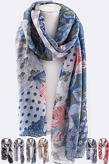Mix Print Fashion Scarf
