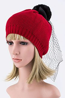 Kid's Mesh Fur Pom Knit Beanies