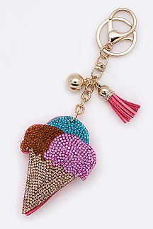 Crystal Ice Cream Cone Key Charm