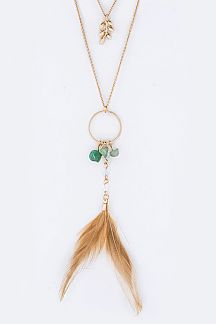 Leaf & Feather Charms Layer Necklace Set
