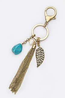 Crystal Leaf & Tassel Key Charm