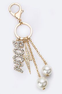 Mix Crystal & Pearl Charms Key Chain