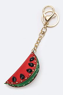 Crystal & Leather Craft Watermelon Key Charm
