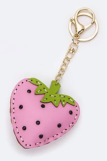 Crystal & Leather Craft Strawberry Key Charm
