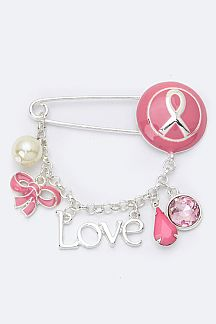Pink Ribbon Mix Charms Safety Pin Brooch