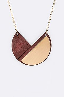 Metal & Wooden Plate Pendant Necklace Set