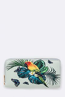 Butterfly & Parrot Print Wallet