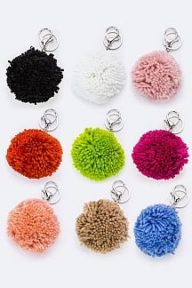 Assorted Color PomPom Key Charms Set