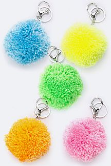 Assorted Neon Color PomPom Key Charms Set