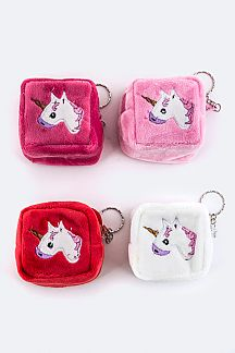 Plushy Unicorn Square Coin Purses Set
