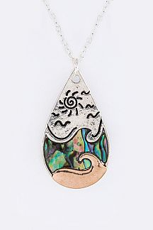 Pave Shell Teardrop Pendant Necklace Set