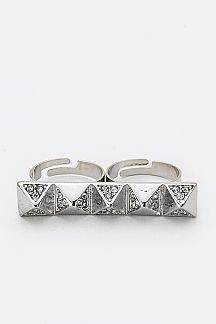 Pave Crystal Pyramids Two Fingers Ring
