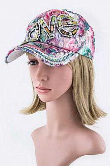 LOVE Crystal Embelished Cap