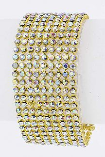 9 Row Crystal Mesh Chain Snap On Cuff