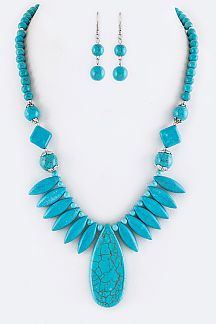 Mix Turquoise Statement Necklace Set