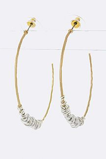 2 Tone Wired Hoop Earrings