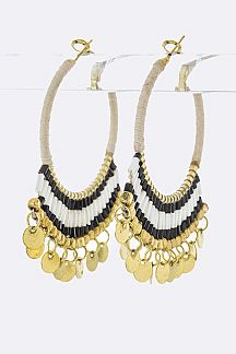 Bead & Fringe Disk Hoop Earrings