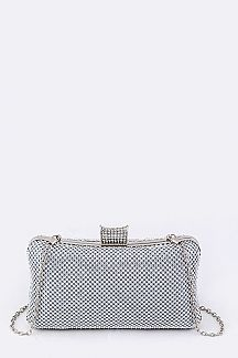 Crystal Mesh Box Clutch Bag