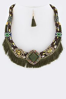 Mix Stones & Fringe Strings Statement Necklace Set