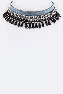 Denim, Chain & Fringe Lace Chokers Set