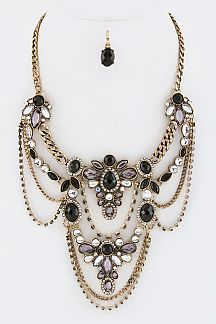 Crystal Flowers Layer Statement Necklace Set