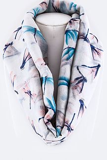 Assorted Dragonfly Pattern Infinity Scarf