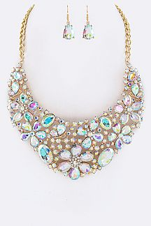 Acrylic Stone Bridal Statement Necklace Set