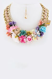 Mix Flower Charms Necklace