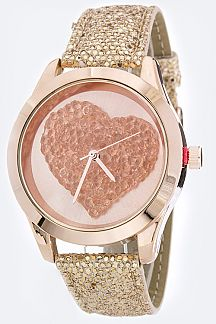 Crystal Heart Dial Glittered Band Fashion Watch