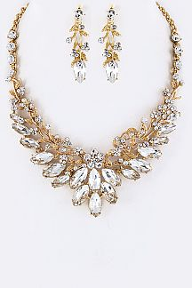 Mix Crystals Flower Statement Necklace Set