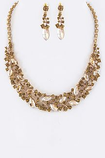 Marquise Crystals Flower Statement Necklace Set