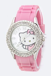 Hello Kitty Crystal Bezel Jelly Watch