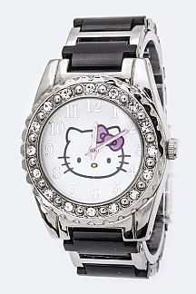 Hello Kitty Crystal Bezel Watch