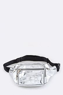 Croc Embossed Silver Fanny Pack