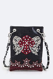 Cross & Wing Embroidery Leather Swing Bag