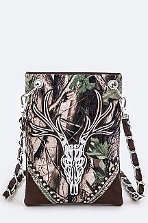 Deer Skull Embroidery & Camouflage Iconic Swing Bag
