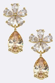 CZ Flower & Teardrop Earrings