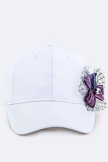 Kids Size Flower Bow Sueded Cap