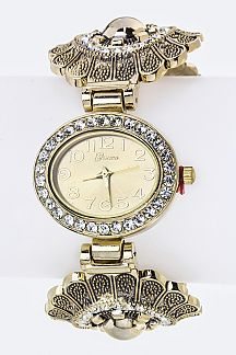Crystal Flower Open Bangle Watch
