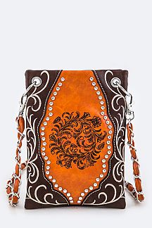 Studs & Embroidered Swirl Fashion Swing Bag