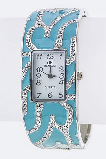 Crystal & Enamel Bangle Watch
