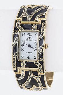 Crystal & Enamel Bracelet Watch