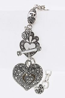 Ornate Heart Charms Bracelet