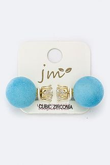 CZ & Plushy Ball Back Studs