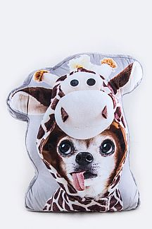Puppy In Giraffe Suit Cushion