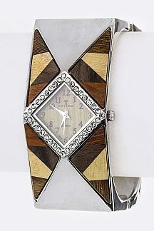 Crystal & Block Patterned Wooden Accent Bangle Watch
