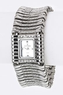 Textured Metal Bars Bracelet Watch